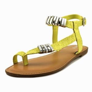 Verna Yellow Faux Leather Embossed Sandal